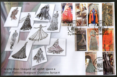 India 2020 Indian Fashion Series 4 Designer's Creation Costumes Culture Textile 9v FDC