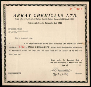 India Arkay Chemicals Limited Share Certificate # FA-10 - Phil India Stamps