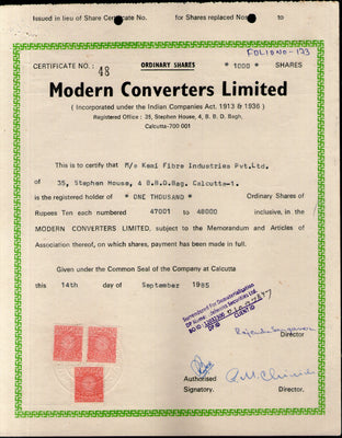 India 1985's Modern Converters Ltd. Share Certificate with Revenue Stamp # FA13
