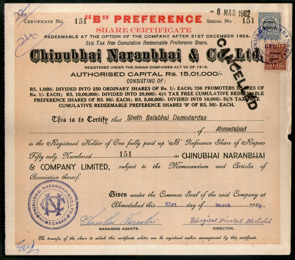 India 1950s Chinubhai Naranbhai Co Share Certificate With