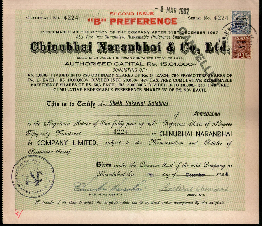India 1950's Chinubhai Naranbhai & co. Share Certificate with Revenue Stamp # FA-21 - Phil India Stamps