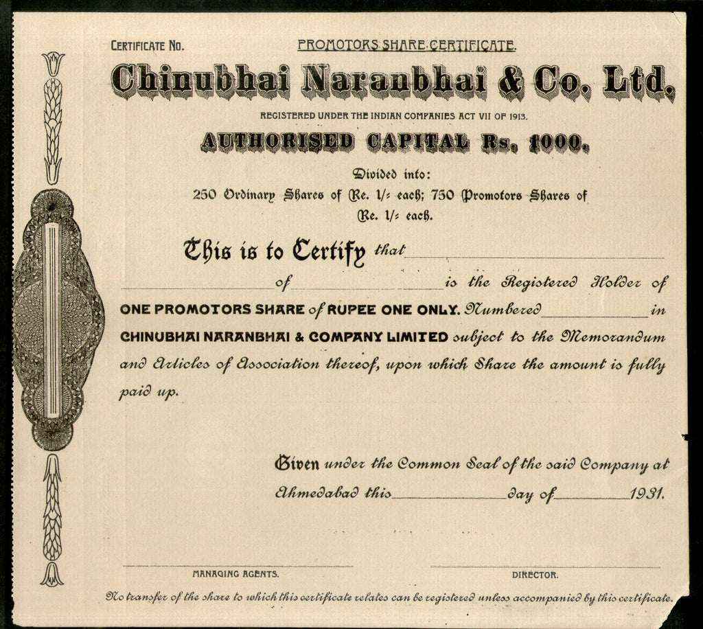 India 1930's Chinubhai Naranbhai & co. LTD. Share Certificate Blank # FA23 - Phil India Stamps
