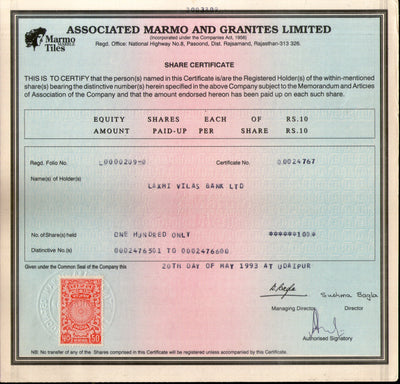 India 1993's Marmo & Granite Ltd. Share Certificate with Revenue Stamp # FA2