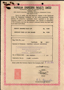 India 1984's Mangalam Engineering Project Ltd. Share Certificate + Revenue Stamp # FA3