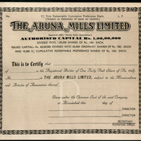 India 1950's The Aruna Mills Limited Share Certificate Blank # FA07 - Phil India Stamps