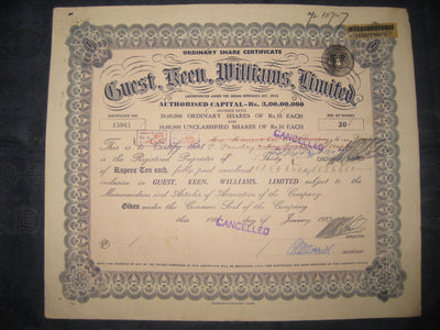 India 1950's Guest Williams Limited Share Certificate + Revenue # FB10 - Phil India Stamps