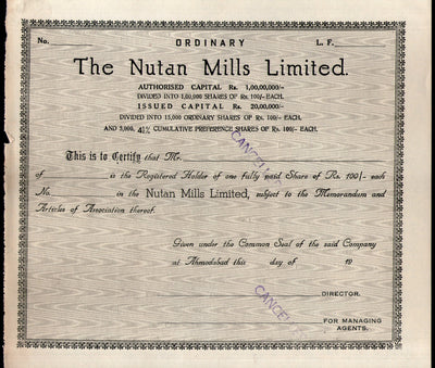 India 1940's The Nutan Mills Limited Share Certificate # FB22 - Phil India Stamps