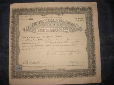 India 1940's The Asiatic Textile Co. Limited Bombay Share Certificate # FB04 - Phil India Stamps