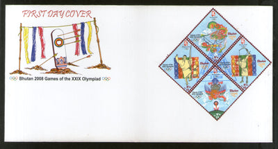 Bhutan 2008 Olympic Games Beijing Archery Dragon Sc 1432 M/s on FDC # F131