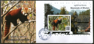 Bhutan 2019 Red Panda Wildlife Animals Species of Mammals M/s on FDC # F161
