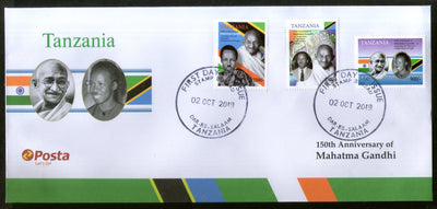 Tanzania 2019 Mahatma Gandhi of India 150th Birth Anniversary Flag 3v FDC # 193