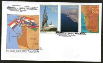 Namibia 1994 Incorporation of Walvis Bay Flags Map Fish FDC # FDC27