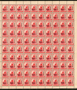 India 1971 5p Family Planning O/p Refugee Relief Phila D91 Full Sheet of 100 MNH # 10