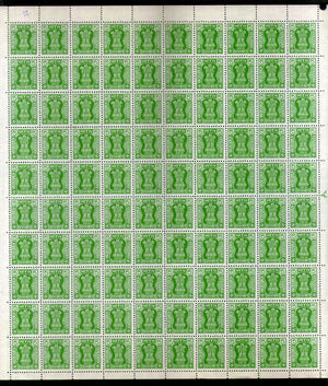 India 1984-99 5p Ashokan Service WMK To Left Phila S266 Full Sheet of 100 Stamps MNH # 25