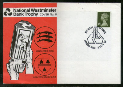 Great Britain 1988 National Westminster Bank Trophy Cricket Special Cover + Card