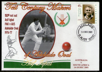 Australia 2001 Cricket Test Century Makers of Adelaide Oval – Asif Iqbal of Pakistan Special Cover # 665