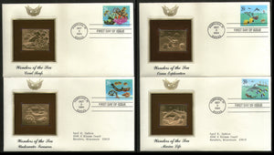 USA 1994 Wonders Of The Sea Marinlife Coral Gold Replicas Cover Sc 2863-66 # 146 - Phil India Stamps