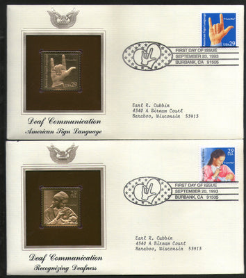 USA 1993 Deaf Sign Language Health Handicapped Gold Replicas Cover Sc 2783-4 # 147 - Phil India Stamps