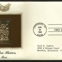 USA 1994 Garden Flowers Rose Lily Tree Plant Gold Replicas Cover Sc 2829-33 #150 - Phil India Stamps