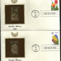 USA 1993 Garden Flowers Tulip Iris Tree Plant Gold Replicas Cover Sc 2760-4 # 152 - Phil India Stamps