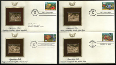 USA 1999 Aquarium Reef Fish Coral Marine Life Gold Replicas Cover Sc 3317-20 # 155 - Phil India Stamps