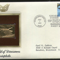 USA 1997 Prehistoric Animal Dinosaurs Goniopholis. Gold Replicas Cover Sc 3136e # 166 - Phil India Stamps