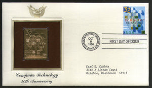 USA 1996 Computer Technology Science Gold Replicas Cover Sc 3106 # 167 - Phil India Stamps