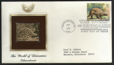 USA 1997 Prehistoric Animal Dinosaurs Edmontonia Gold Replicas Cover Sc 3136i # 169 - Phil India Stamps