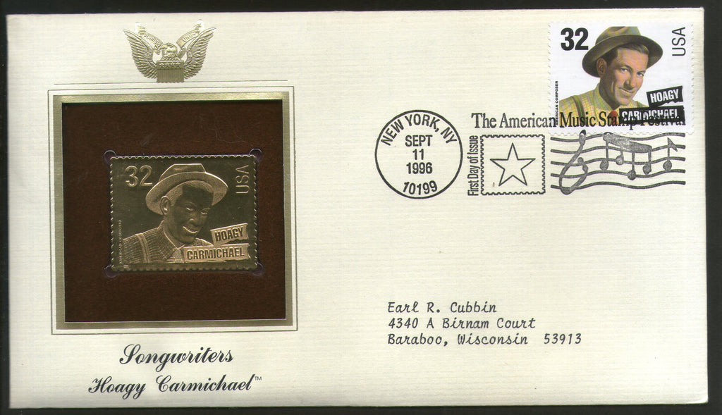 USA 1996 Music Series Songwriters Hoagy Carmichael Gold Replicas Cover Sc 3103 # 174 - Phil India Stamps