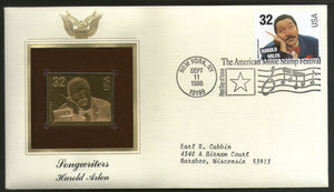 USA 1996 Music Series Songwriters Harold Arlen Gold Replicas Cover Sc 3100 # 175 - Phil India Stamps