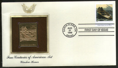 USA 1998 Painting by Winslow Homer Art Gold Replicas Cover Sc 3236j # 201 - Phil India Stamps