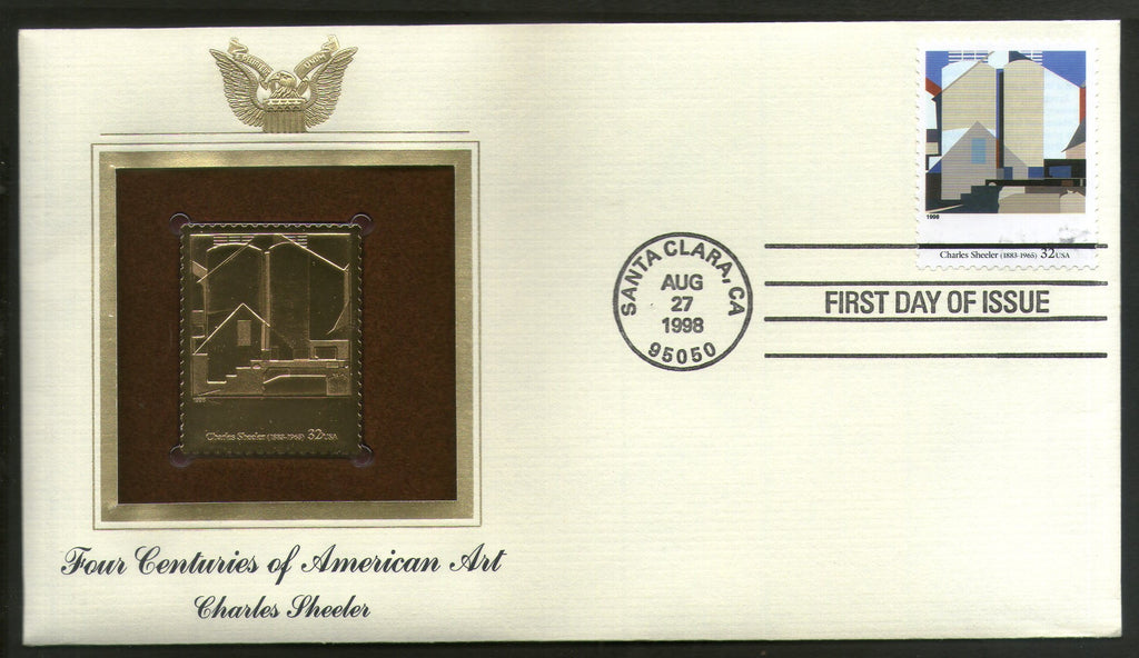 USA 1998 Painting by Charles Sheeler Art Gold Replicas Cover Sc 3236r # 202 - Phil India Stamps