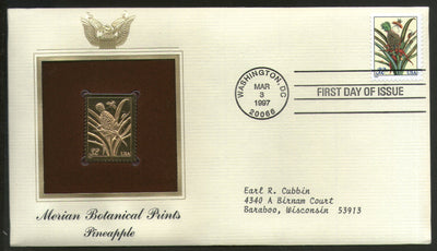 USA 1997 Merian Botanical Prints Pineapple Gold Replicas Cover Sc 3127 # 206 - Phil India Stamps