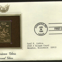 USA 1999 American Glass Ware Pressed Glass Gold Replicas Cover Sc 3327 # 210 - Phil India Stamps