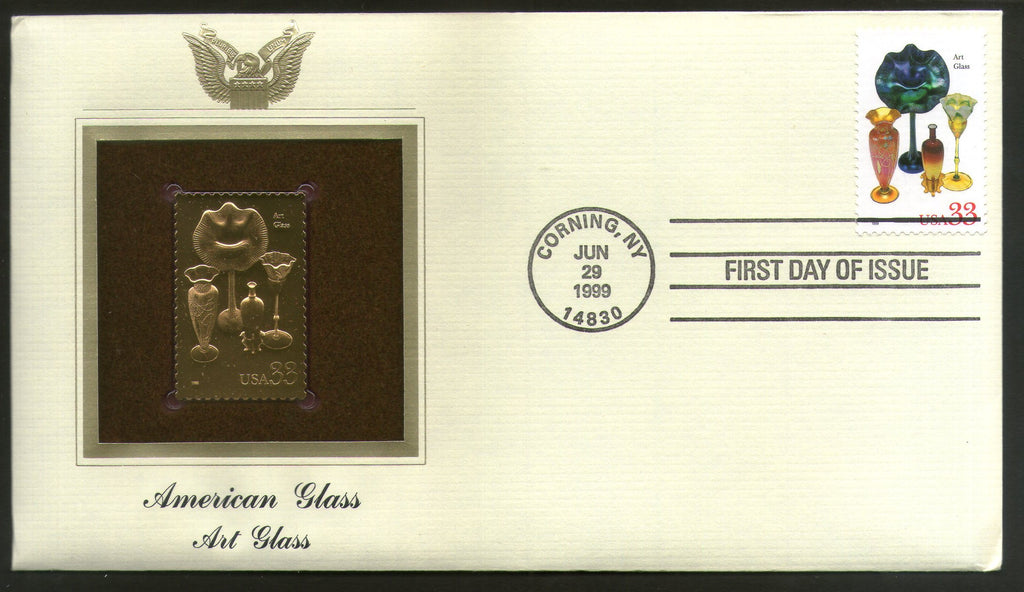 USA 1999 American Glass Ware Art Glass Gold Replicas Cover Sc 3328 # 213 - Phil India Stamps