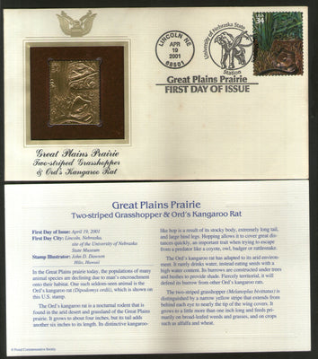 USA 2001 Elephant Kangaroo Rat Grasshopper Insect Animal Gold Replica First Day Cover # 215