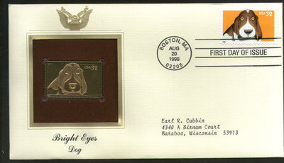 USA 1998 Bright Eyes Dog Pet Animal Gold Replicas Cover Sc 3230 # 217 - Phil India Stamps