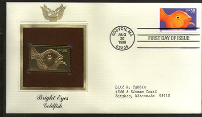 USA 1998 Bright Eyes Gold Fish Marine Life Gold Replicas Cover Sc 3231 # 218 - Phil India Stamps