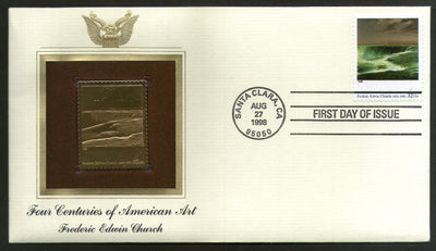 USA 1998 Painting by Frederic Edwin Church Art Gold Replicas Cover Sc 3236n # 220 - Phil India Stamps