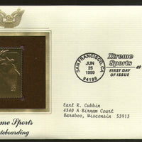 USA 1999 Extreme Sports Skateboarding Gold Replicas Cover Sc 3321 # 229 - Phil India Stamps