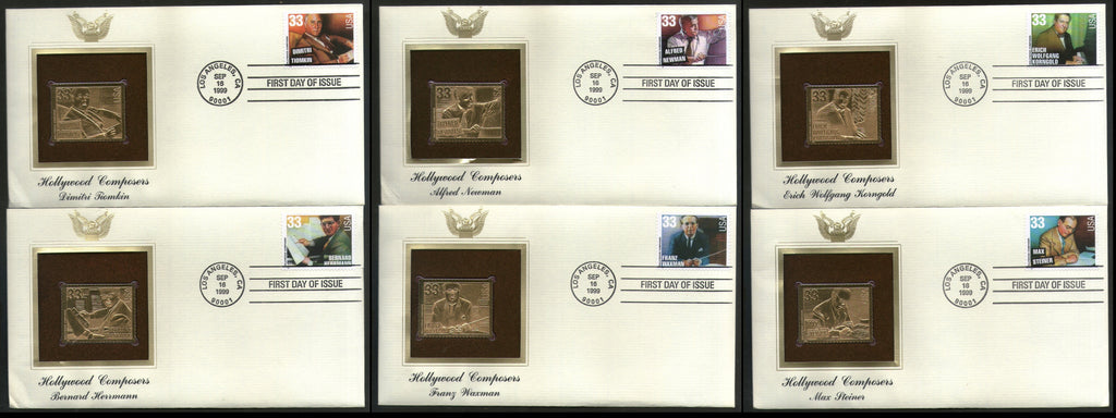 USA 1999 Music Series Hollywood Composers Gold Replicas Cover Sc 3339-44 # 232 - Phil India Stamps