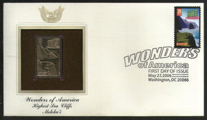 USA 2006 Moloka'i highest sea Cliff Wonders of America Gold Replicas Cover # 243 - Phil India Stamps