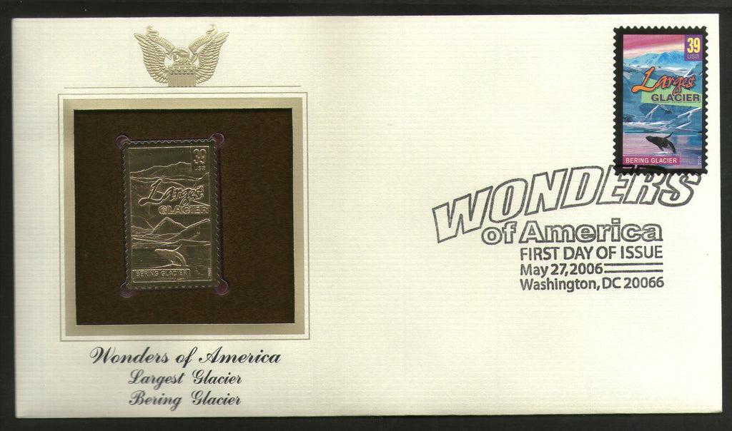 USA 2006 Bering Glacier Wonders of America Gold Replicas Cover Sc 4036 # 252 - Phil India Stamps