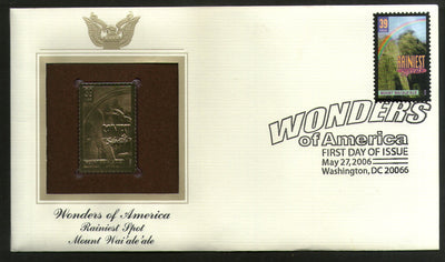 USA 2006 Wai'ale'ale Rainiest Spot Wonders of America Gold Replicas Cover # 253 - Phil India Stamps