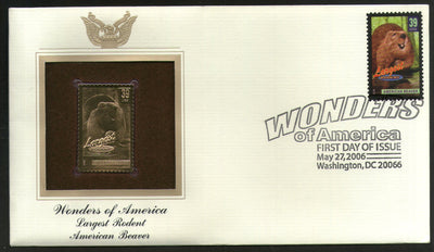 USA 2006 Beaver Largest Rodent Wonders of America Gold Replicas Cover # 256 - Phil India Stamps