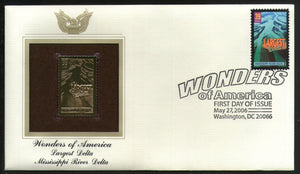 USA 2006 Mississippi River Delta Wonder of America Gold Replicas Cover Sc 4058 # 268 - Phil India Stamps