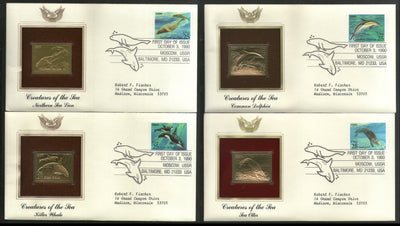 USA 1990 Creature of Sea Marine Life Fish Whale Gold Replicas Cover Set of 4 # 27