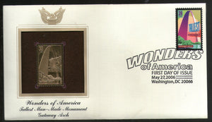 USA 2006 Gateway Arch tallest man-made Monument Wonders of America Gold Replicas Cover # 280 - Phil India Stamps