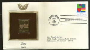 USA 2002 Greetings Special Massage Love Heart Gold Replicas Cover Sc 3657 # 286 - Phil India Stamps