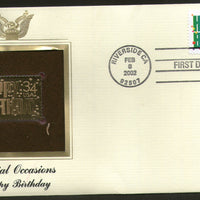 USA 2002 Greetings Massage Happy Birthday Gold Replicas Cover Sc 3558 # 287 - Phil India Stamps
